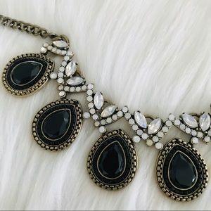 J Crew statement necklace black jeweled bronze